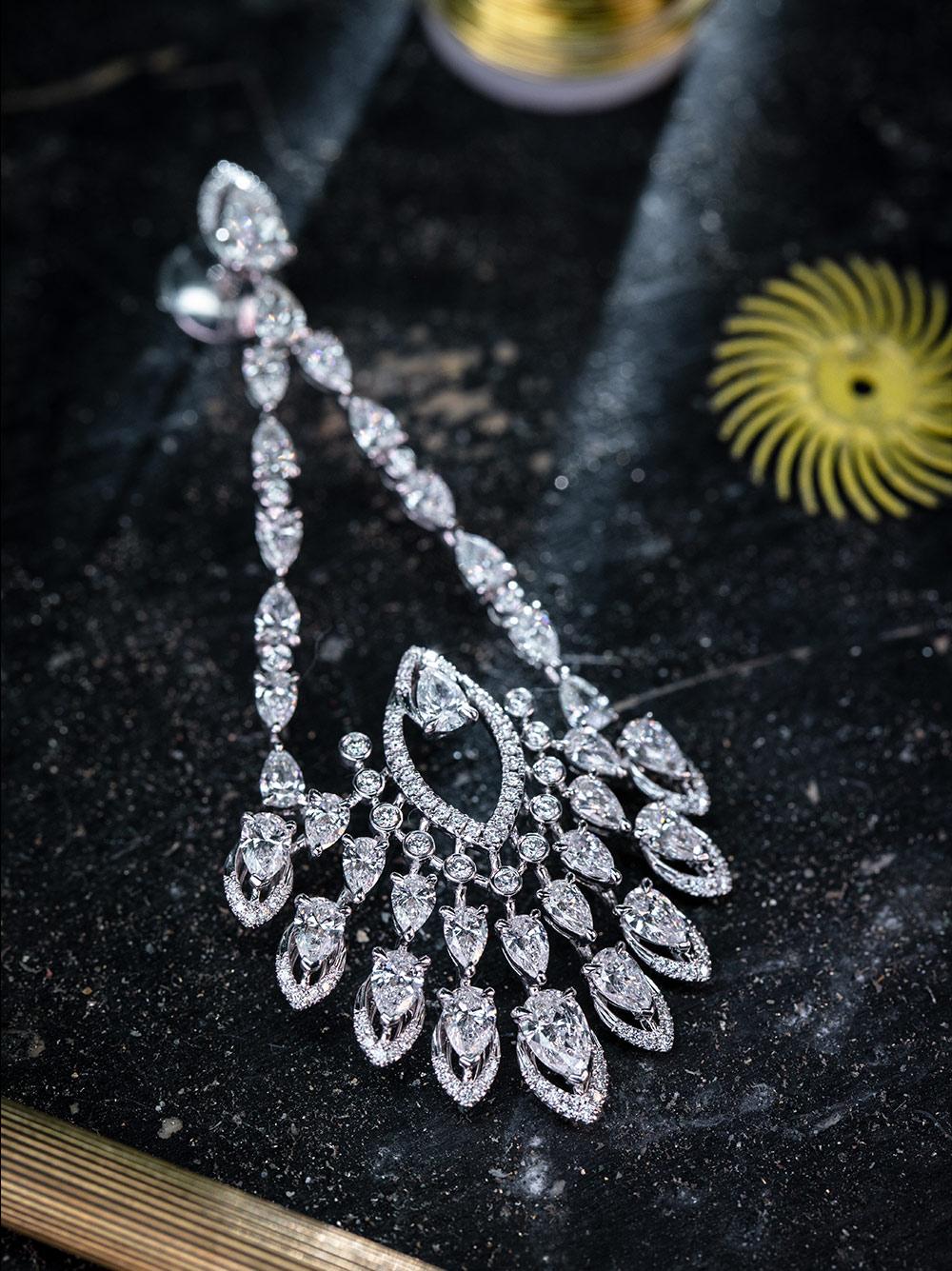 White gold diamond chain earrings Desert Bloom